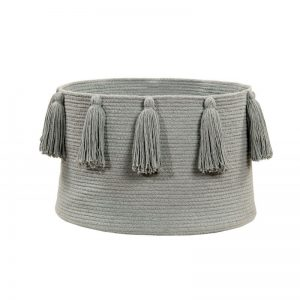 Storage Basket Tassels Light Grey