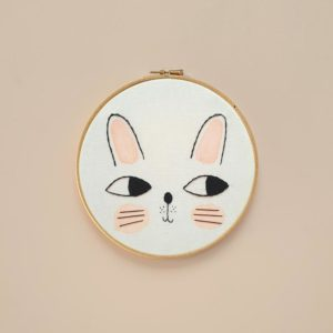 Kids Decor Bunny Embroidery Hoop