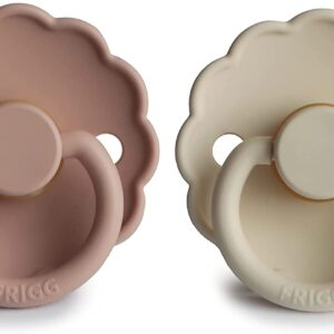 daisy natural rubber baby pacifier blush and cream