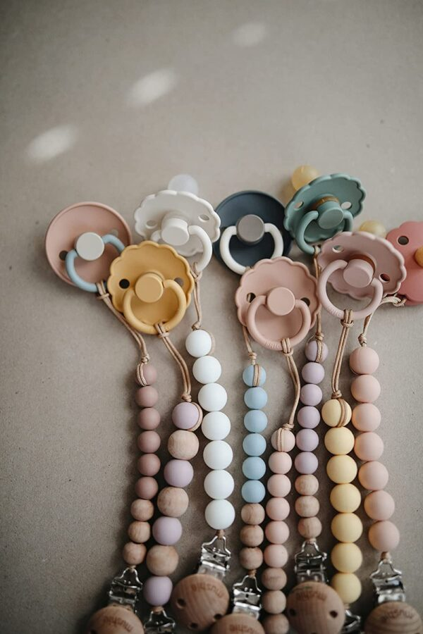 daisy natural rubber baby pacifier blush and cream look5
