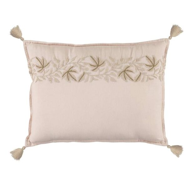 embroidered padded cushion ivy pink