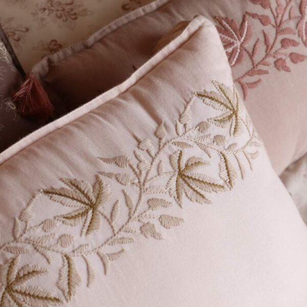 embroidered padded cushion ivy pink look3