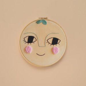 Children Wall Decor Peach Embroidery Hoop