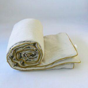 Ilayela Linen Duvet Cover Ivory Mustard