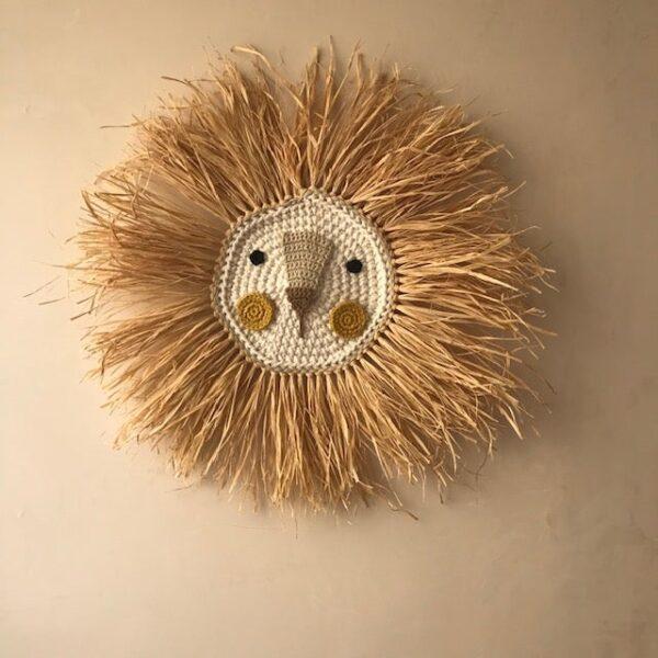 Ilayela Wall Decor Lion Crochet Mustard
