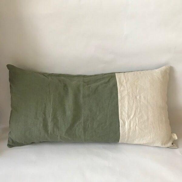 Ilayela Linen Pillowcase Olive Ivory