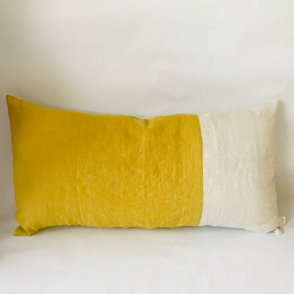 Ilayela Linen Pillowcase - Lemon Ivory