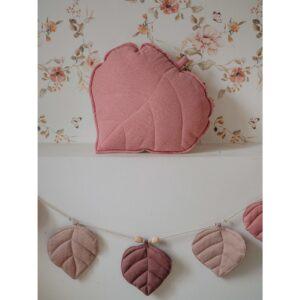 leaf cushion linen dirty pink