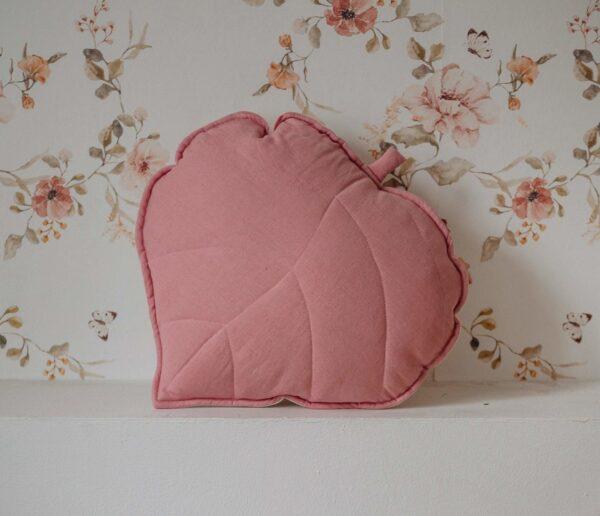 leaf cushion linen dirty pink1
