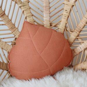 leaf cushion linen papaya