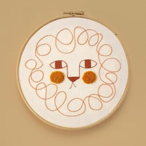 Kids Wall Decor Leon Embroidery Hoop