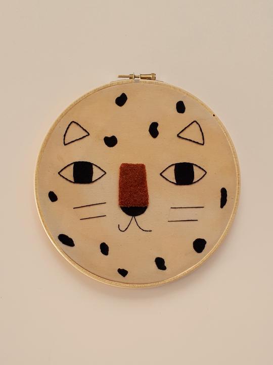 Kids Wall Decor Leopardo Embroidery Hoop