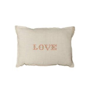 love padded cushion double check ivory and clay