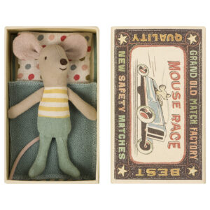 Maileg Toy Stuffed Little Brother Mouse in box