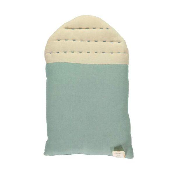 midi house cushion light teal and stone back