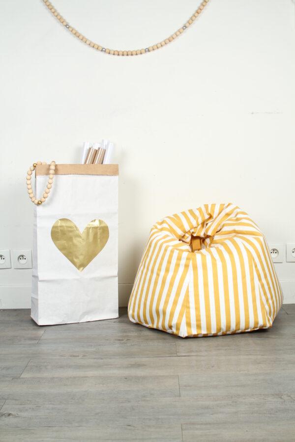 Paperbag Big Heart Gold MonPetit Zoreol
