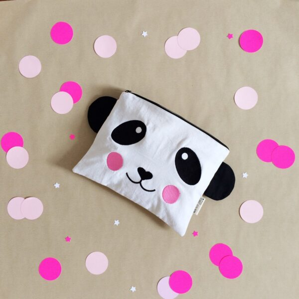Embroidered Case Panda with Pink Cheeks MonPetit Zoreol
