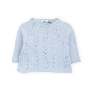 sweater newborn tricot ajours illusion blue