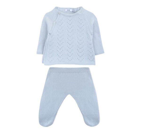 sweater newborn tricot ajours illusion blue set