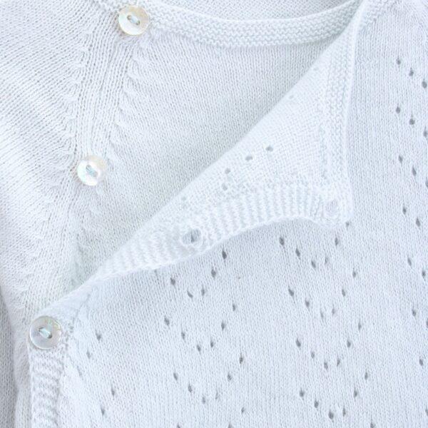 sweater newborn tricot ajours illusion blue look