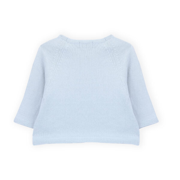 sweater newborn tricot ajours illusion blue look1