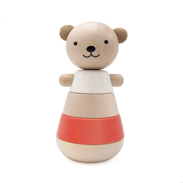 wooden stacking bear corail look