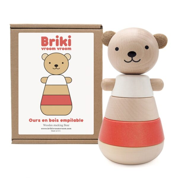 wooden stacking bear corail look1