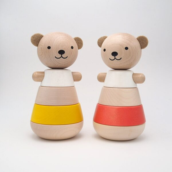 wooden stacking bear corail look3
