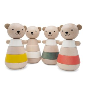 wooden stacking bear corail look4