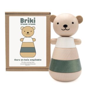 wooden stacking bear grey look