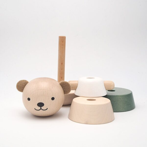 wooden stacking bear grey look1