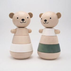 wooden stacking bear grey look4