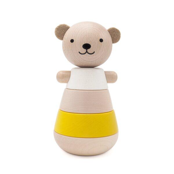 wooden stacking bear jaune