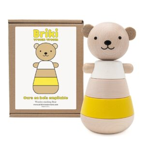 wooden stacking bear yellow look